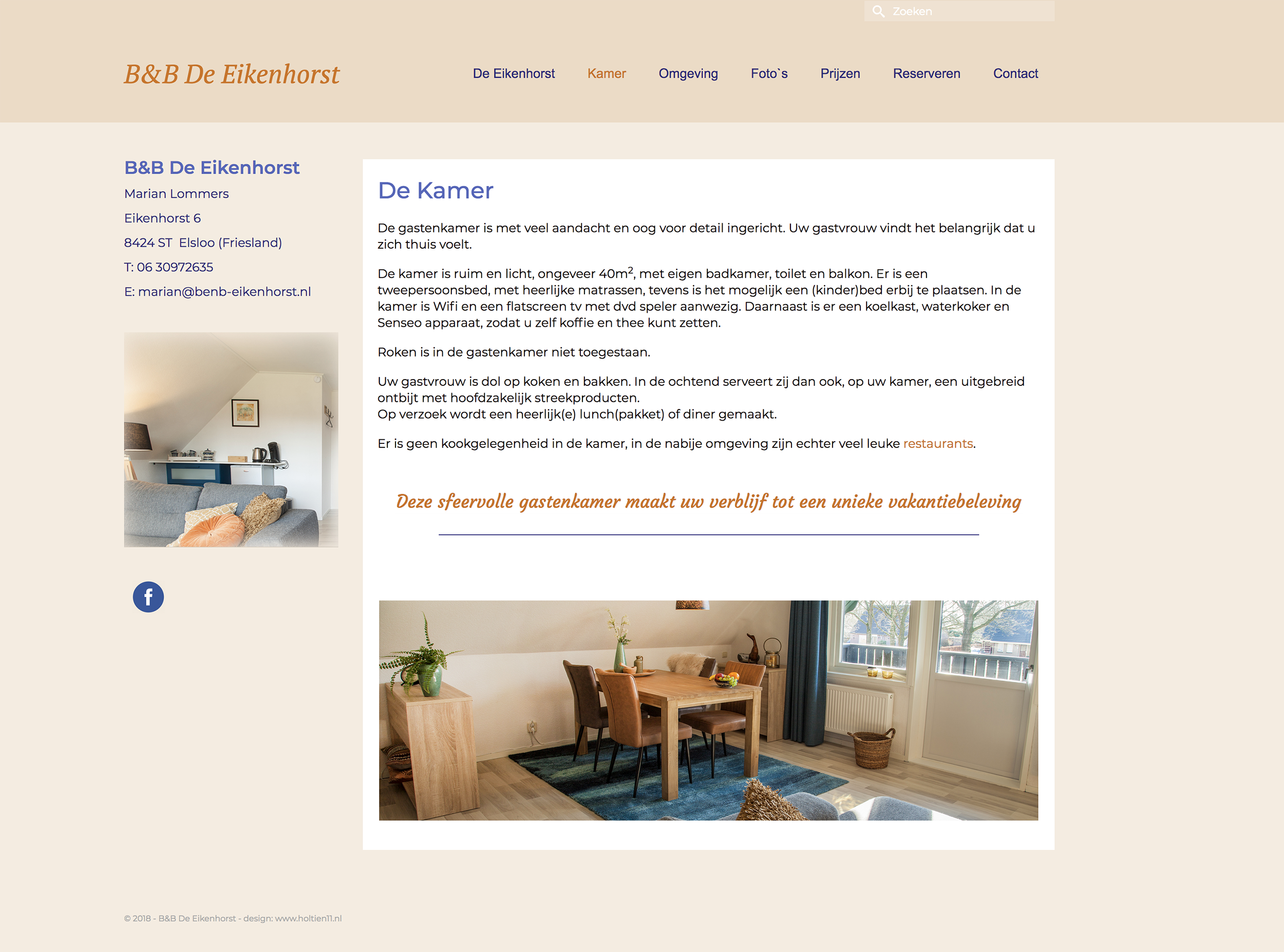 website B&B De Eikenhorst